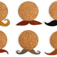 Kikkerland Mustache Cork Coasters, Set of 6: Kitchen & Dining
