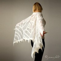Elegant White nuno felted wool shawl scarf Handmade by JumiFelt