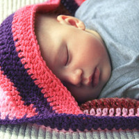Crocheted hooded striped baby blanket