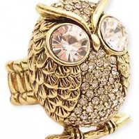 Gold Rhinestone Owl Stretch Ring