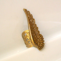 Brass Gothic Angel Wing Ring by LeBoudoirNoir on Etsy