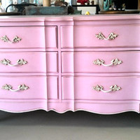 Beautiful light Pink dresser and nightstand by theuptowncottage