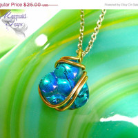ON SALE Titanium Druzy Necklace - metallic blue agate stone jewelry made in Hawaii by Mermaid Tears