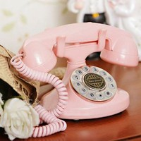1922 Style Cute Classical Vintage Antique Style Home Desk Corded Telephone -PINK Color