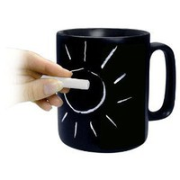 Konitz Classic Chalk Talk 12-Ounce Mug, Black, Gift Boxed