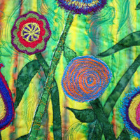 art quilts fantasy flowers in brilliant by BarbaraHarmsFiberArt