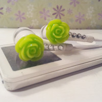 Back IN STOCK Neon Green Glitter rose earbuds with swarovski crystals