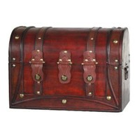 Antique Style Round Top Wood Trunk with straps