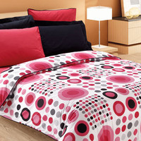 Custom Queen Size Red and Black Dotted Print by MyveraLinen