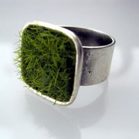Lush Green Grass Silver Square Adjustable Wide Band Ring