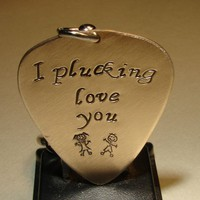 Guitar pick keychain stamped with I plucking love you in bronze