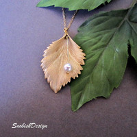 Leaf Necklace Swarovski Pearl Dainty Gold by SnobishDesign