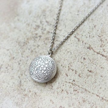 Little flower round Locket Necklace by laonato on Etsy