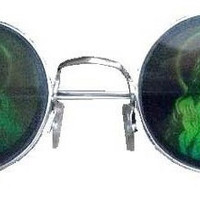 90s Grunge Jesus Hologram Vintage Deadstock Round Lennon Sunglasses