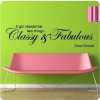 "Amazon.com: Coco Chanel Quote Wall Decals Decor ""A Girl Should Be Two Things,classy&fabulous"" Inspirational Words Wall Art Stickers Mural for Girls Bedroom Dorm Shopwindow Birthday Gift for Girl - 48""W x 12""H black: Home & Kitchen"
