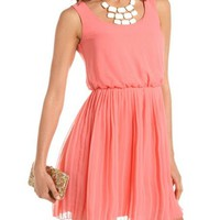 Pleated Chiffon A-Line Dress: Charlotte Russe