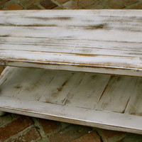 Reclaimed Wood Coffee Table - WIDE SIZE - Shabby, Handmade - Country Cottage - Antique White
