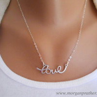 Cursive Love Necklace in Silver  Perfect Gift  by morganprather