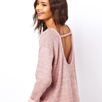 ASOS Jumper with Open Back in Multi Colour Yarn