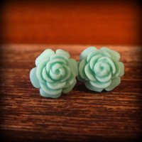 Rose Studs Rosette Post Earrings in Teal by prettypleasempls