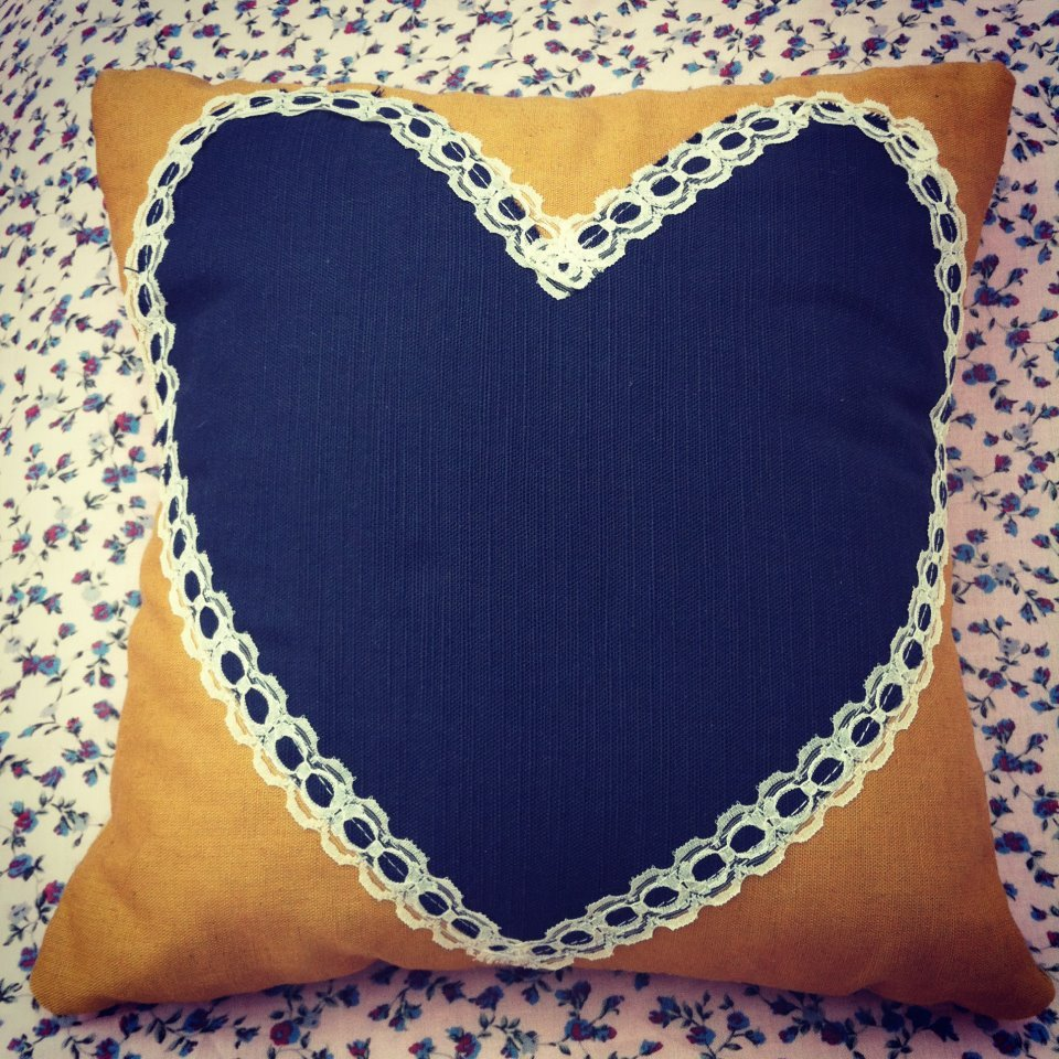 Vintage Mustard And Navy Blue Lace Heart Cushion | Luulla