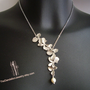 SALE, 10% OFF: Asymmetrical flowers cascade necklace in white gold, flower necklace, lariat necklace, wedding jewelry, bridesmaid