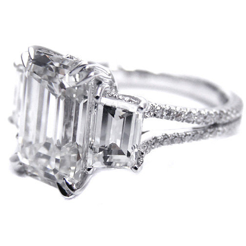 Engagement Ring Three Stone Emerald cut from MDC Diamonds