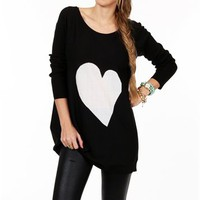 Black/White Long Sleeve Heart Tunic