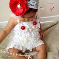 White  Vintage Lace Petti Romper - Photo prop-Baptism outfit Christening outfit- Newborn - Baby Girl - Toddler