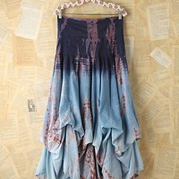 Free People Vintage Tie Dye Crinkle Maxi Skirt