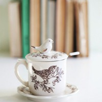 Birds Of A Feather Ceramic Teacup Set | Modern Vintage Home & Office