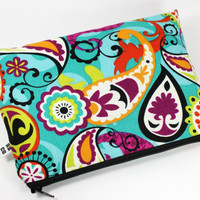 Vibrant Paisley Cosmetic Bag/Clutch/Coupon Holder by SBCompany