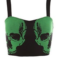 Teenage Runaway Green Skull Longline Bra - 303324