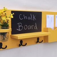 Mail Holder Chalkboard Chalk board Key Hooks by LegacyStudio