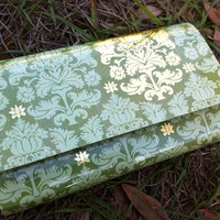 Green and Gold Duct Tape Wallet and Check book by craftysarah