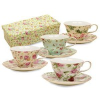 Amazon.com: Gracie China Rose Chintz 8-Ounce Porcelain Tea Cup and Saucer, Set of 4: Home & Kitchen