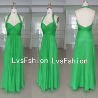 Halter Sweetheart Long Gren Chiffon Green Prom by LvsFashion