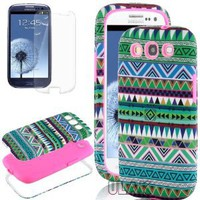 Amazon.com: Pandamimi ULAK 3in1 Hybrid High Impact Hard Aztec Tribal Pattern + Pink Silicone Case Cover For Samsung Galaxy S3 i9300 +Screen Protector by ULARK: Cell Phones & Accessories