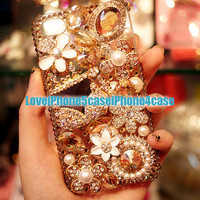 iPhone 5 Case, Crystal iPhone 5 Case, iPhone 4 case, luxury iPhone 5 bling case, unique iphone 5 case, bling iphone 4 case skin floral