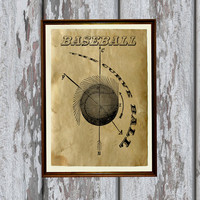 Vintage baseball print Antique paper Antiqued decor 8.3 x 11.7 inches