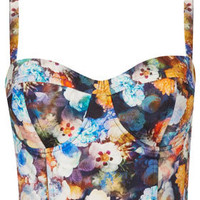 Multi Flower Print Corset - Bralets - Tops  - Clothing