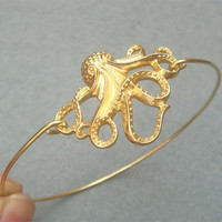 Golden Octopus Bangle Bracelet by turquoisecity on Etsy