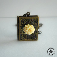 Book Locket Necklace - Vintage Style Photo Locket, Secret Hiding Place, White Chrysanthemum Flower