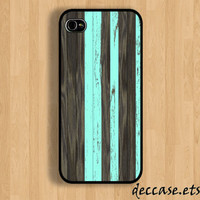 IPHONE 5 CASE Dark wood and mint iPhone 4 case iPhone 4S case iPhone case Hard Plastic Case Soft Rubber Case