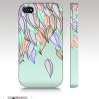 Iphone case, iPhone 4s case, iPhone5 case, iPhone4 case, hipster, illustration, nature colorful, crayon art, mint peach grey