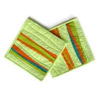 Modern Pot Holders, Honey Dew, Green Potholders, Hot Pad, Quilted Potholders