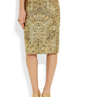 Alexander McQueen|Honeycomb-jacquard pencil skirt|NET-A-PORTER.COM