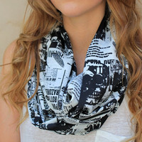 Skull Eternity Scarf, Infinity Scarf, Skull Loop Scarf, Punk, Rock and Roll, Black, White