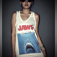 Jaws Tank Top Shirt T-Shirt Women & Men Unisex Size M , L