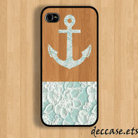 IPHONE 5 CASE Lace ANCHOR on Dark Wooden Pattern iPhone 4 case iPhone 4S case iPhone case Hard Plastic Case Soft Rubber Case